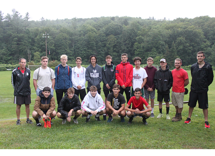 The 2019 Twin Valley varsity boys' soccer team.  Front row, left to right: Aaron Soskin, Jack McHale, Colin McHale, Casey Sibilia, Matt Hammond.  Back row: Coach Buddy Hayford, Jack Kehoe, Finn Fisher, Lucas Messing, Izaak Park, Owen Grinold, Eric Bolognani, Liam Wendell, Aidin Joyce, Cooper Adams, coach TJ Felisko, and coach Josh Carpenter-OHearn.
