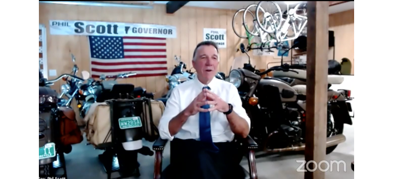 Vermont Gov. Phil Scott participated in Thursday's forum surrounded by his collection of bicycles and motorcycles.                                                                     Lauren Harkawik/Zoom